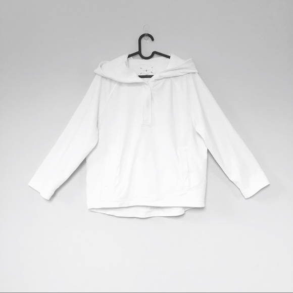 Lou & Grey Tops - Lou & Grey boxy white soft terry cloth hoodie